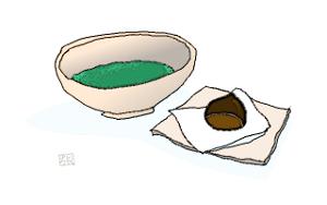 お抹茶と栗饅頭