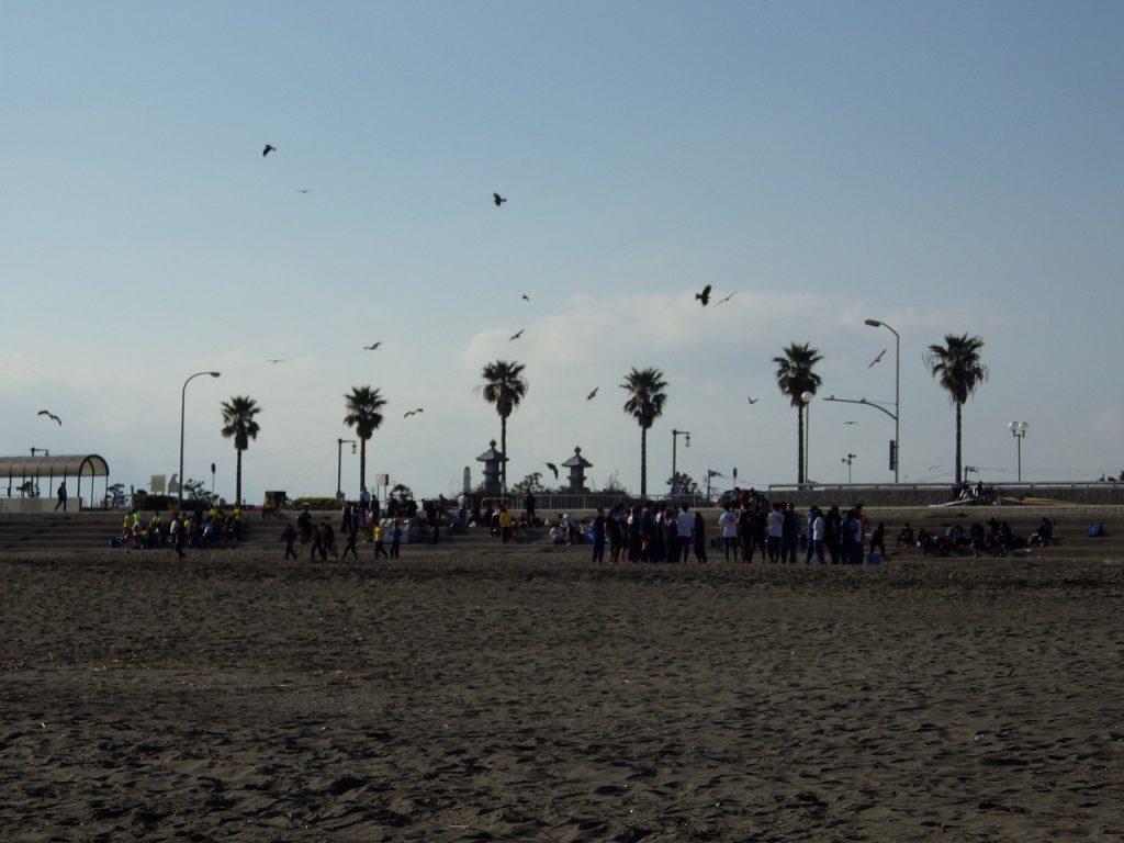 砂浜で訓練