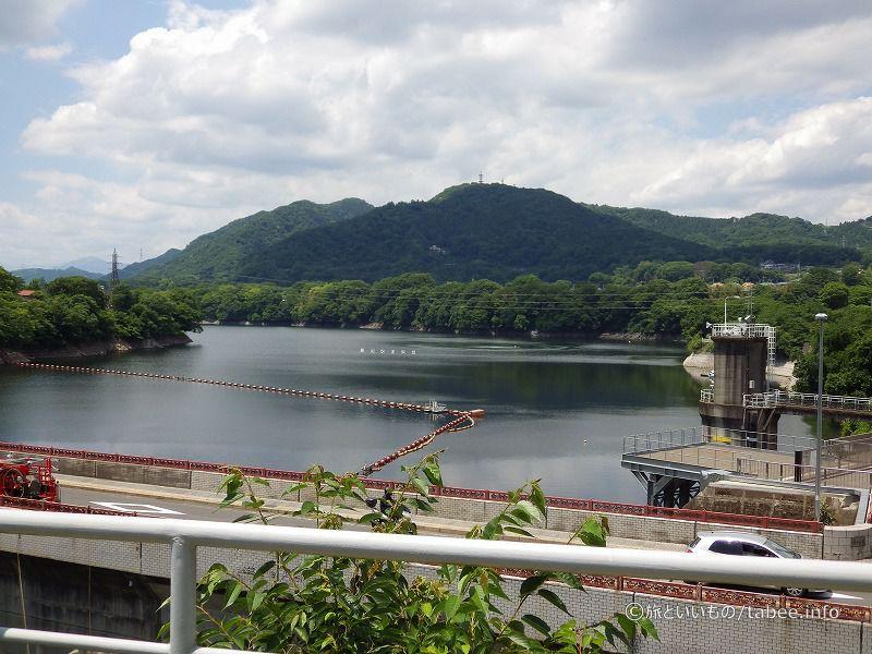 観覧台から津久井湖を眺める