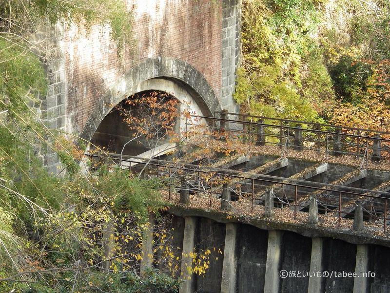 猿橋から眺めた八ツ沢発電所施設 第一号水路橋