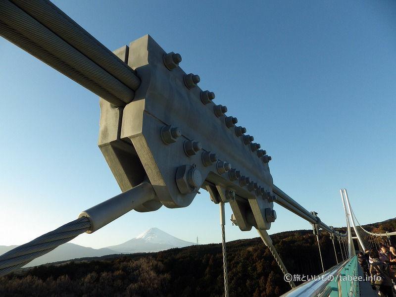 吊り橋の真ん中あたりのケーブル