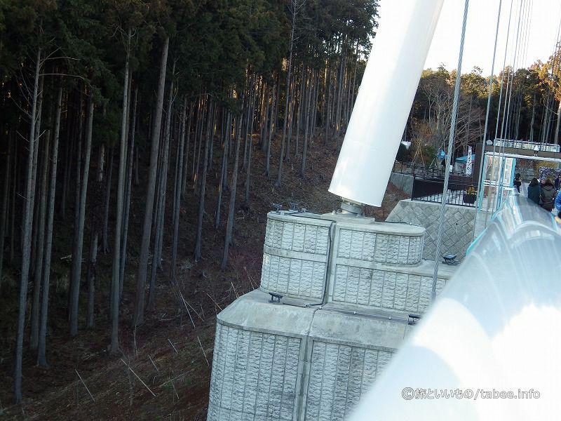 渡り切る手前で主塔の付け根をパシャリ