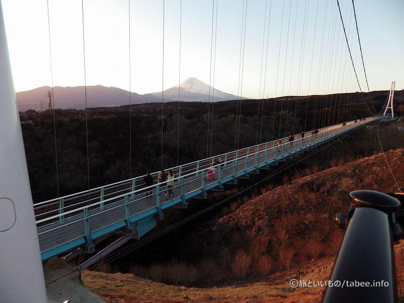 富士山もほんのり夕日に染まってます