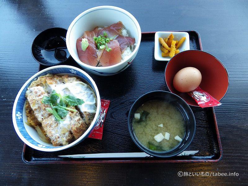 私はミニカツ丼とミニ鉄火丼980円