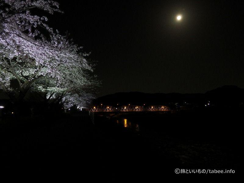 桜と平山橋と月