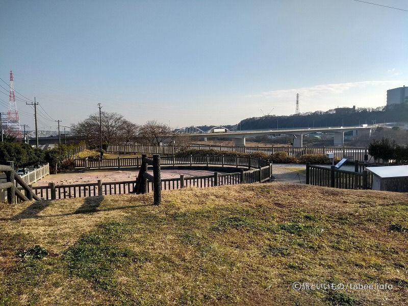 谷原13号墳から史跡田名向原遺跡公園を眺める