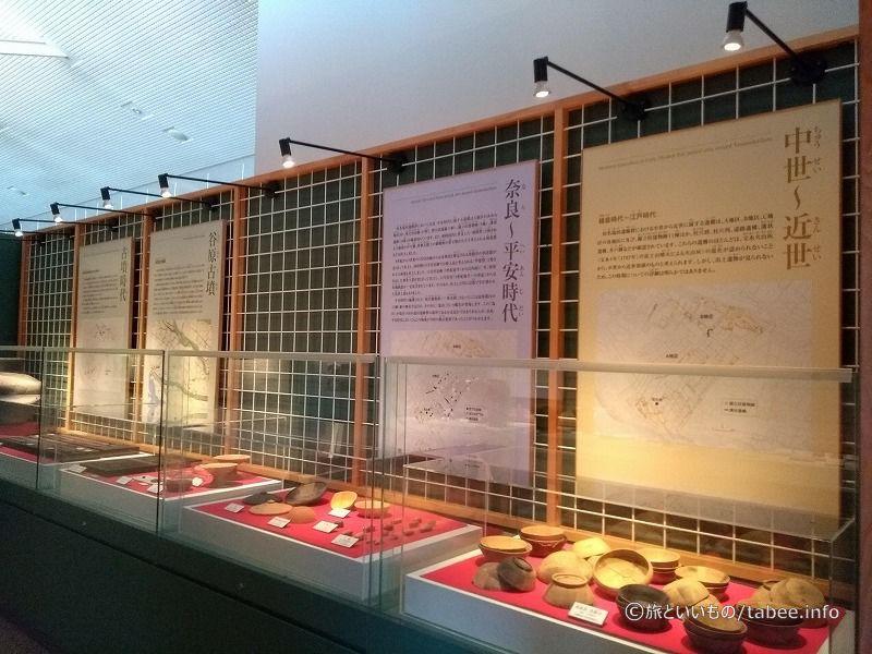 色んな時代の石器の展示