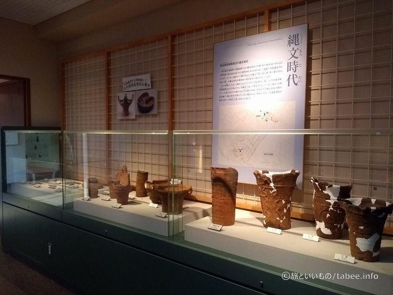 縄文時代土器などの展示