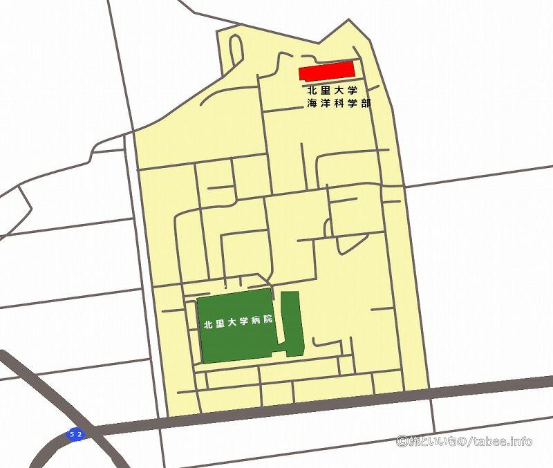 赤色がMB棟の位置