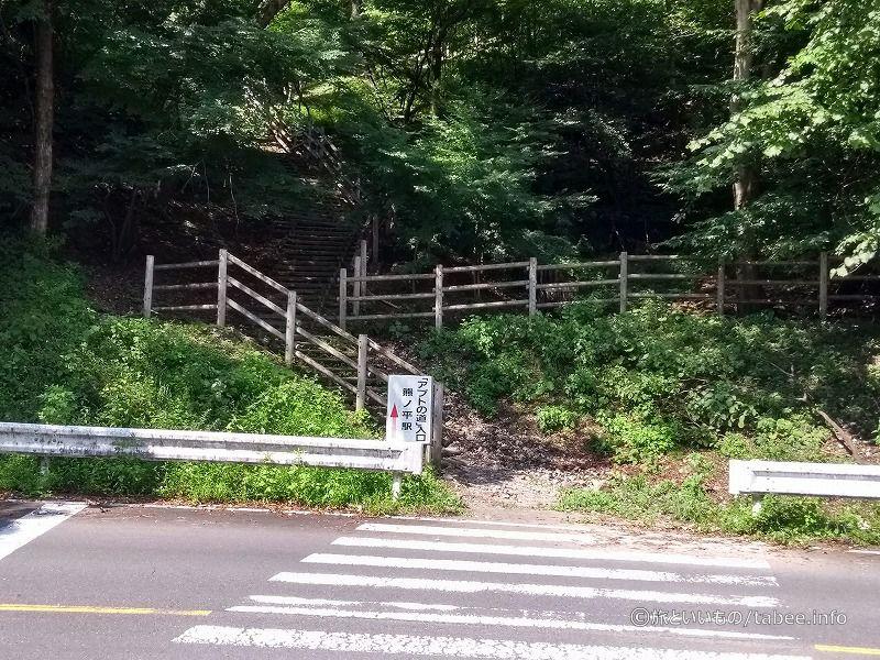 道路を渡って階段を上ります