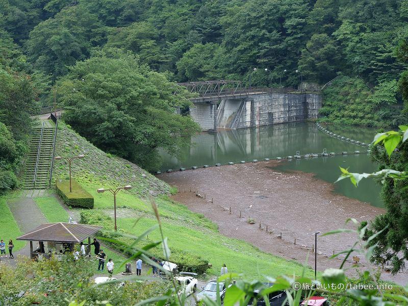 パーキングの上のほうに坂本ダムが見えます