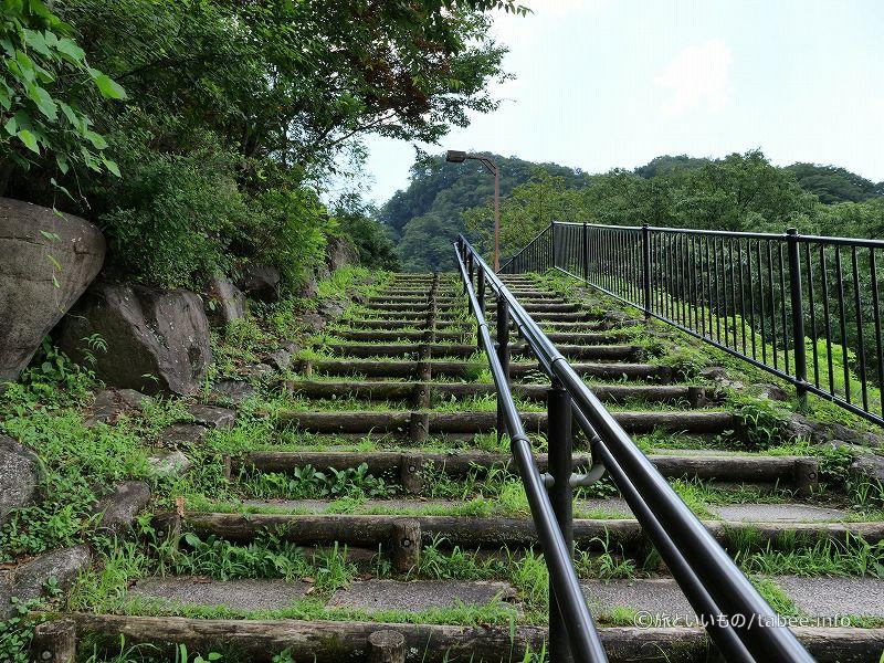この階段を上って坂本ダムへ