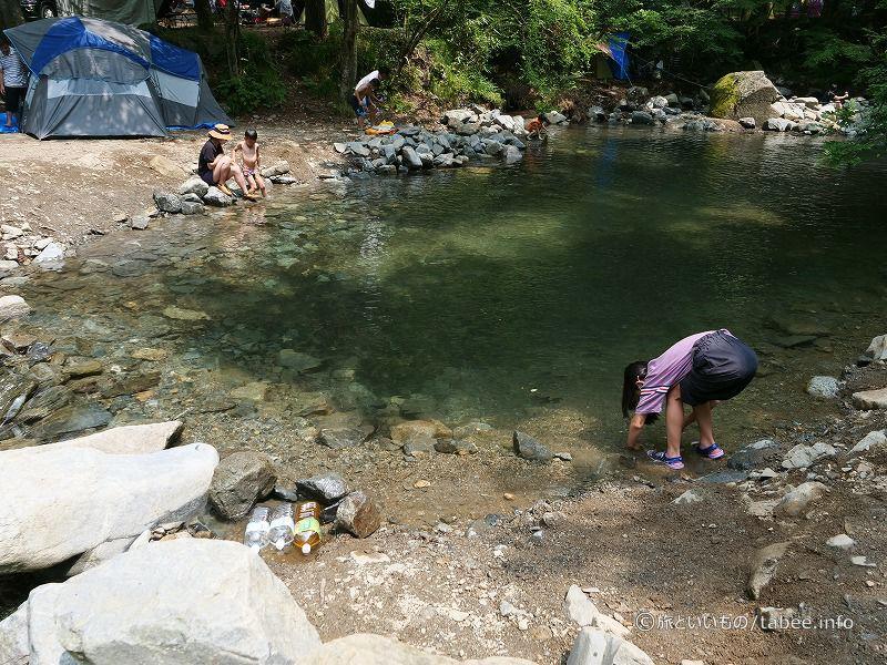 溜池が天然のプールに