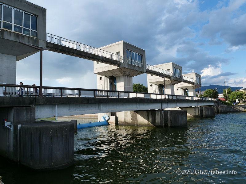 諏訪湖と釜口水門