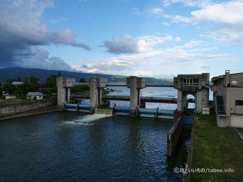 旧釜口水門から見た釜口水門