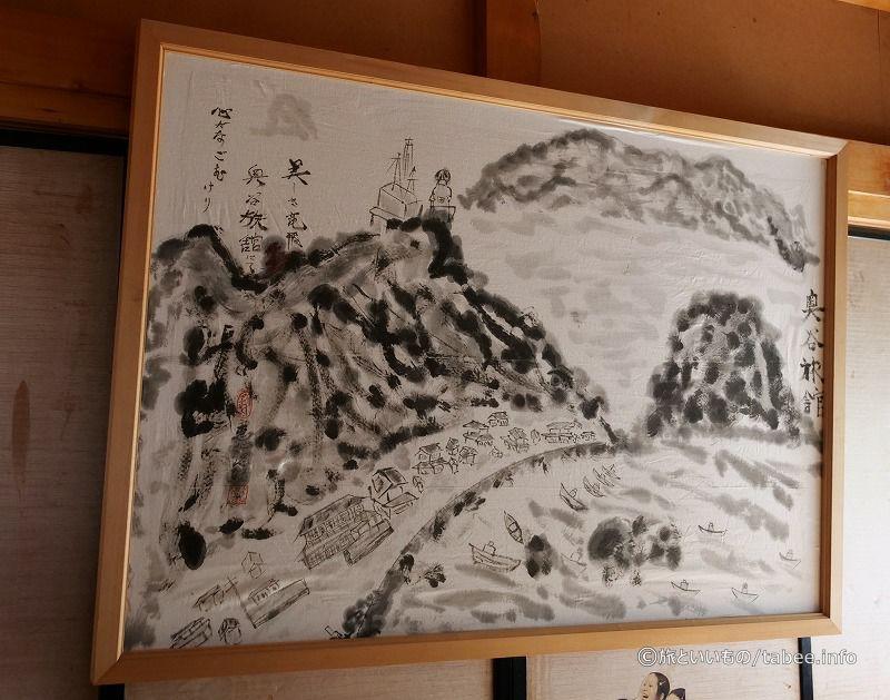 奥谷旅館周辺の様子を描いた絵